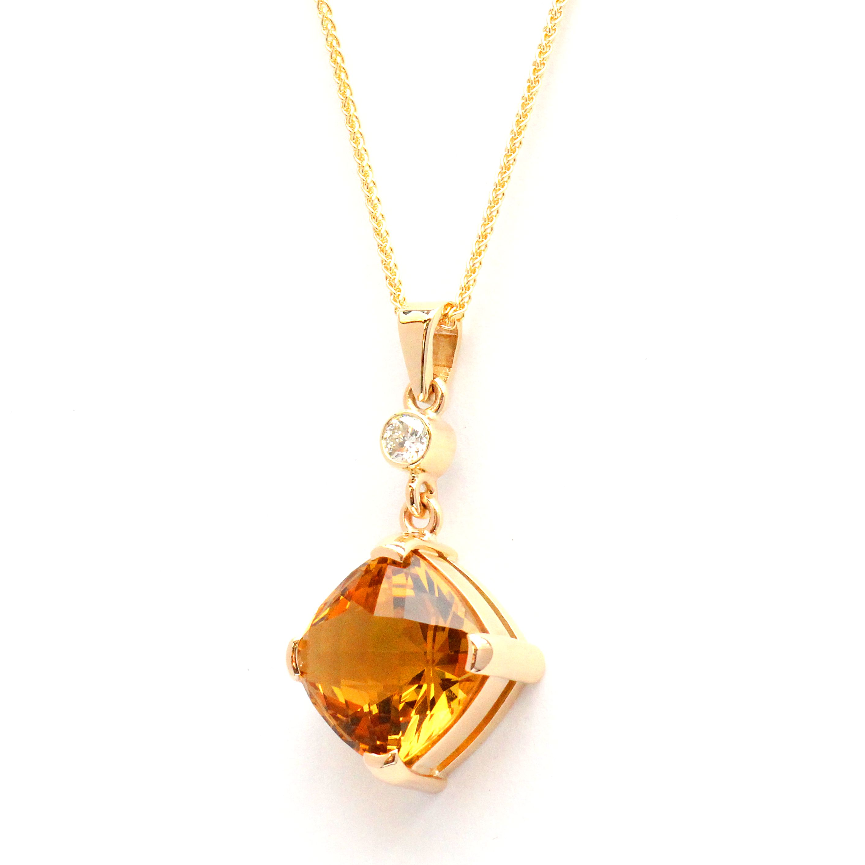 Cushion citrine and diamond pendant riordan jewellers cushion citrine and diamond pendant aloadofball Image collections