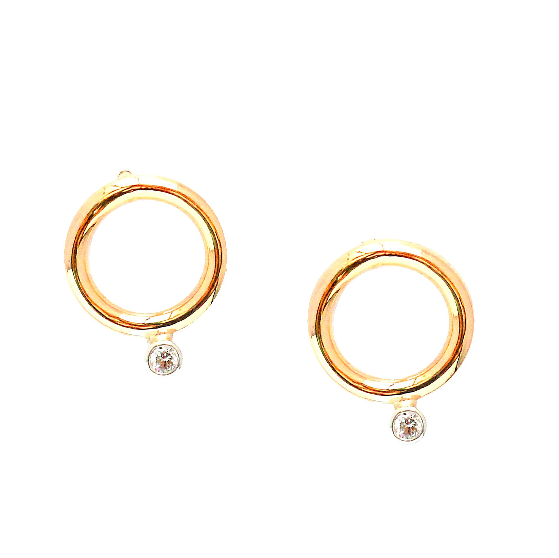 Small 9ct Yellow And White Gold Circle Earrings With Diamond Accent