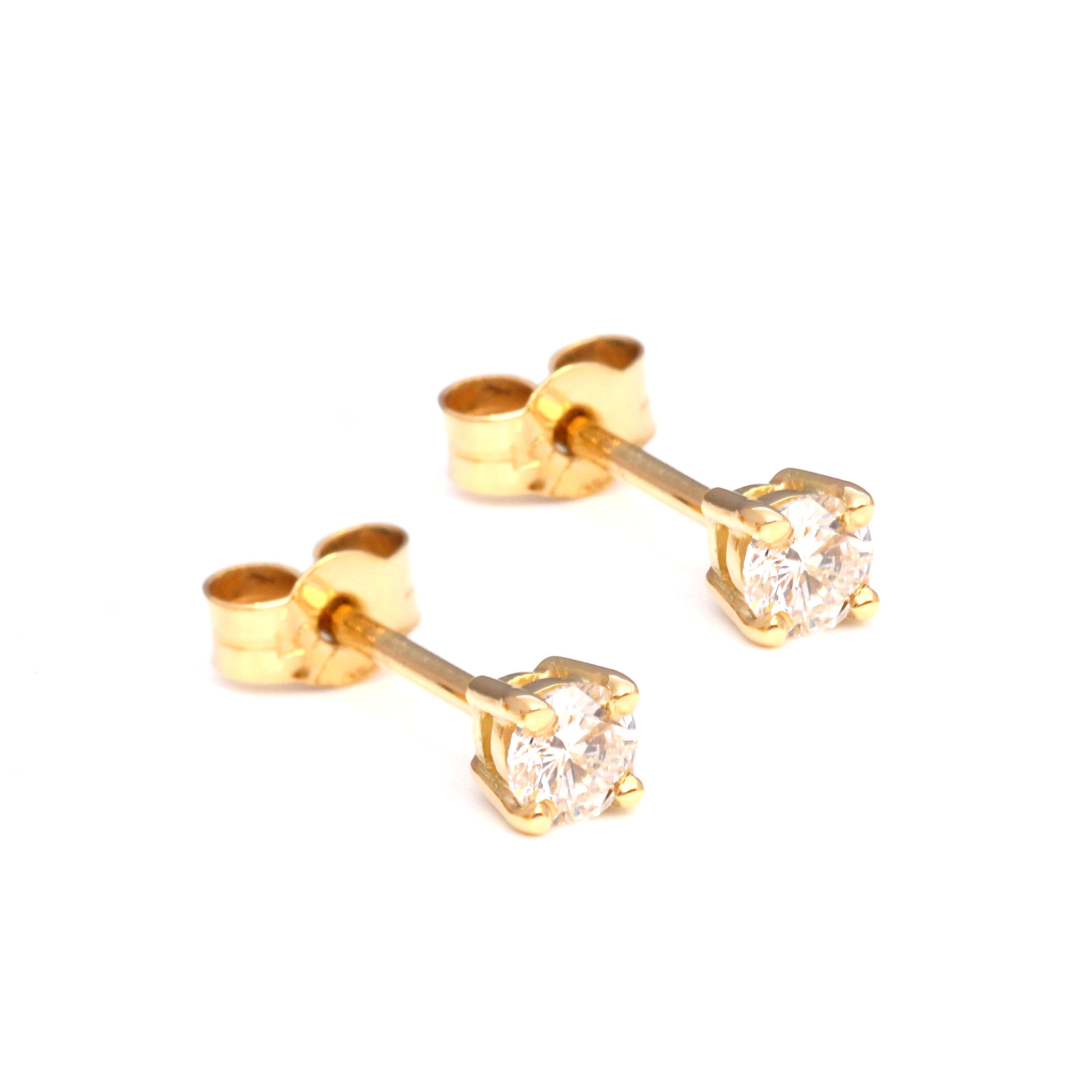 diamond treated gold earrings white ct blue pin stud